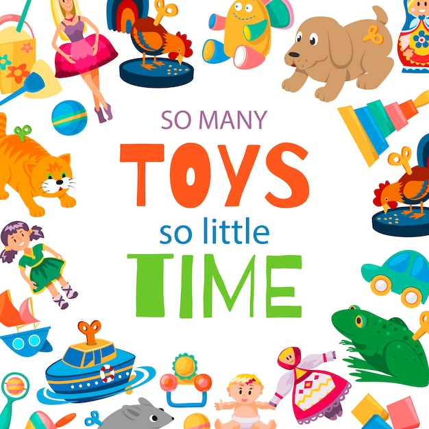 Spielwaren, damit baby illustration spielt. Premium Vektoren
