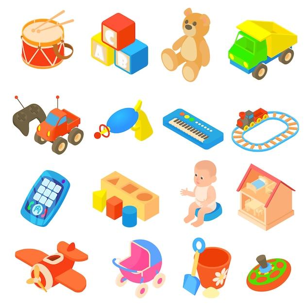 Spielwarenikonen der kinder eingestellt in flache art Premium Vektoren