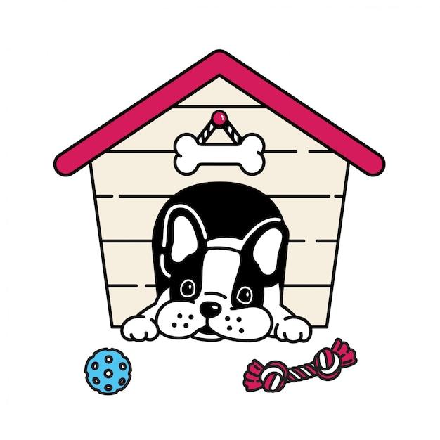 Spielzeugballkarikatur der französischen bulldogge des hundehauses Premium Vektoren