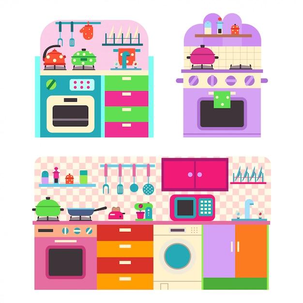Spielzeugküche mit utensilien und haushaltsgeräten für kinder Premium Vektoren