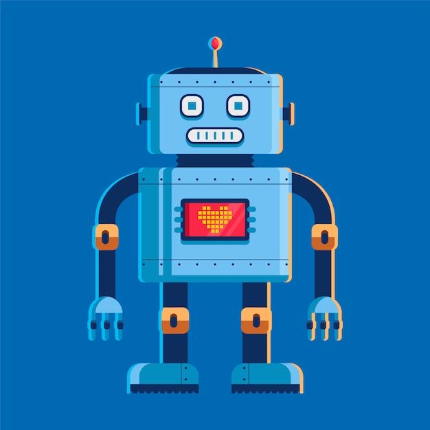 Spielzeugroboter steht und schaut uns an. auf dem brustschirm mit herz. Premium Vektoren