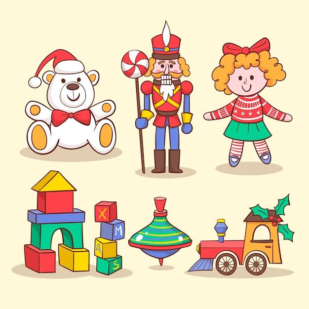 Spielzeugsammlung für die kinderhand gezeichnet Kostenlosen Vektoren