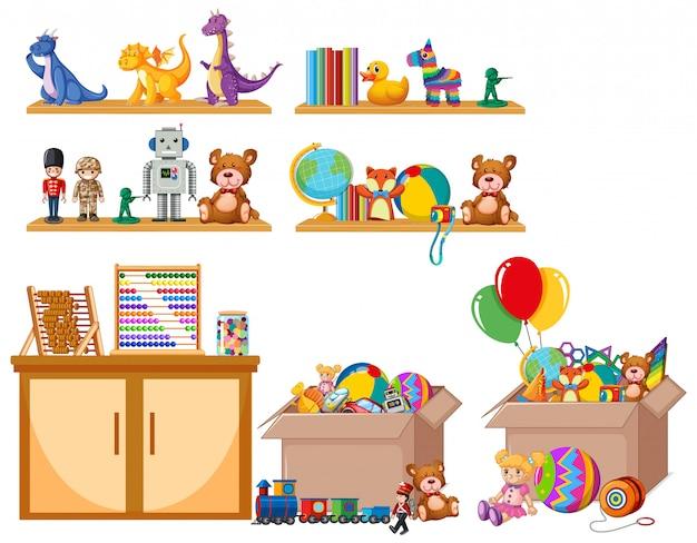 Spielzeugset im regal und in den kisten Kostenlosen Vektoren