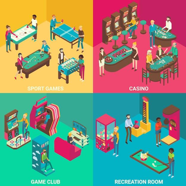 Spielzimmer flach 3d isometrisch Premium Vektoren