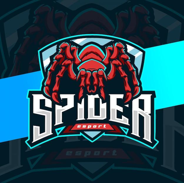 Spinne maskottchen esport logo design Premium Vektoren