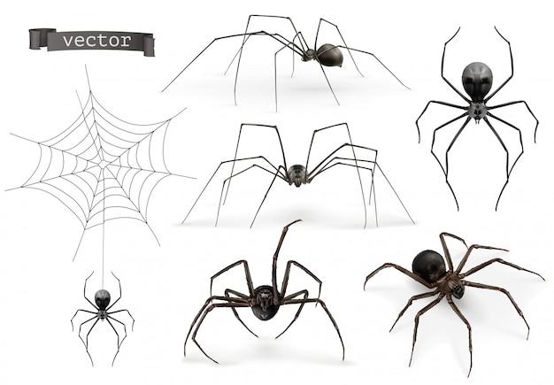 Spinnen. halloween-zeichen, spinnennetz Premium Vektoren