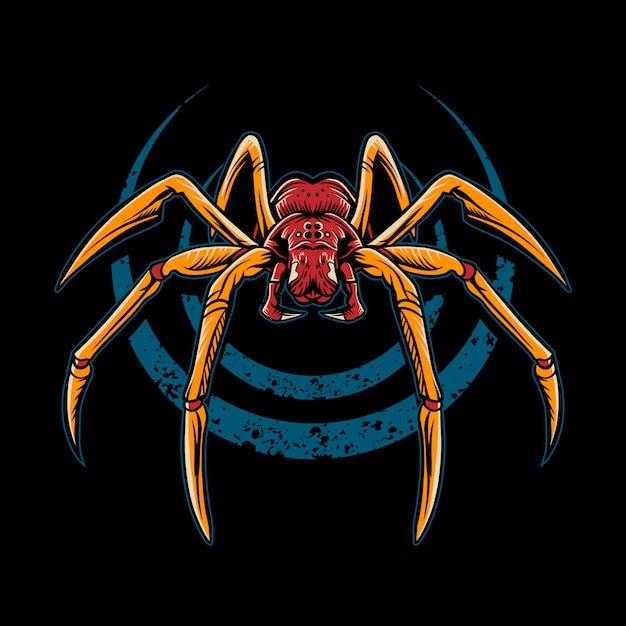 Spinnenillustration auf dunklem hintergrund Premium Vektoren