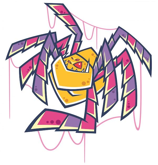 Spinnenkarikatur Premium Vektoren