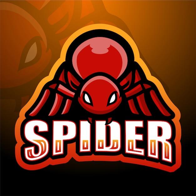Spinnenmaskottchen-esportillustration Premium Vektoren