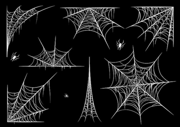 Spinnennetz oder spinnennetz für halloween-set Premium Vektoren