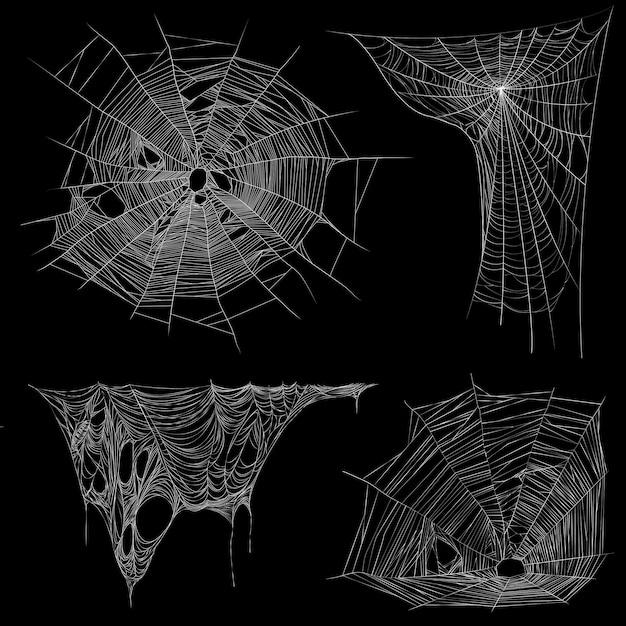 Spinnennetz und verwirrende unregelmäßige spinnweben realistische weiße bildersammlung auf schwarz Kostenlosen Vektoren