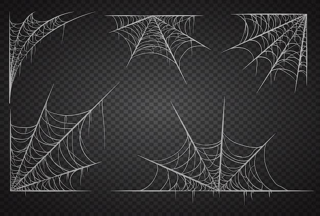 Spinnennetzsatz lokalisiert auf schwarzem transparentem hintergrund Premium Vektoren