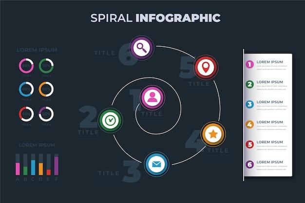 Spirale mit piktogramm infografik vorlage Kostenlosen Vektoren