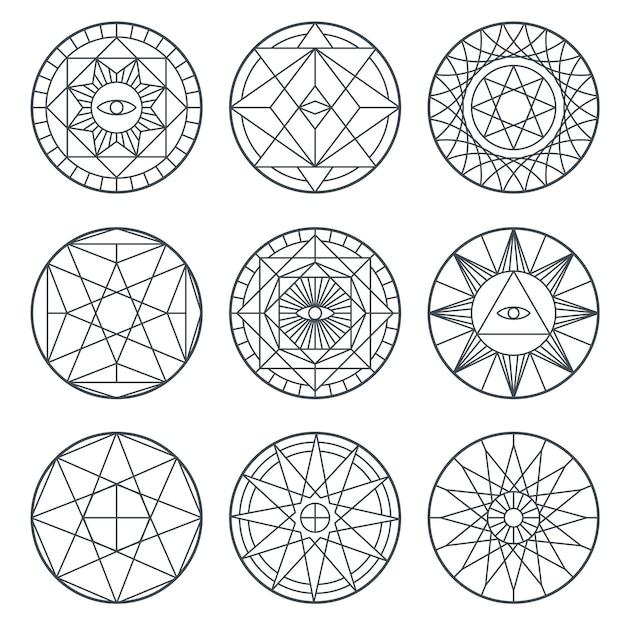 Spirituelle alchimiesymbole. Premium Vektoren