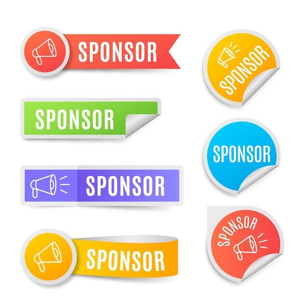 Sponsor aufkleber sammlung Kostenlosen Vektoren