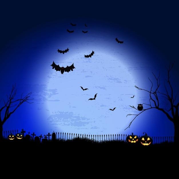 Spooky halloween-landschaft mit friedhof und fledermäuse Kostenlosen Vektoren