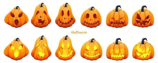 Spooky jack-o-lantern set auf weißem hintergrund für halloween-feier. Premium Vektoren