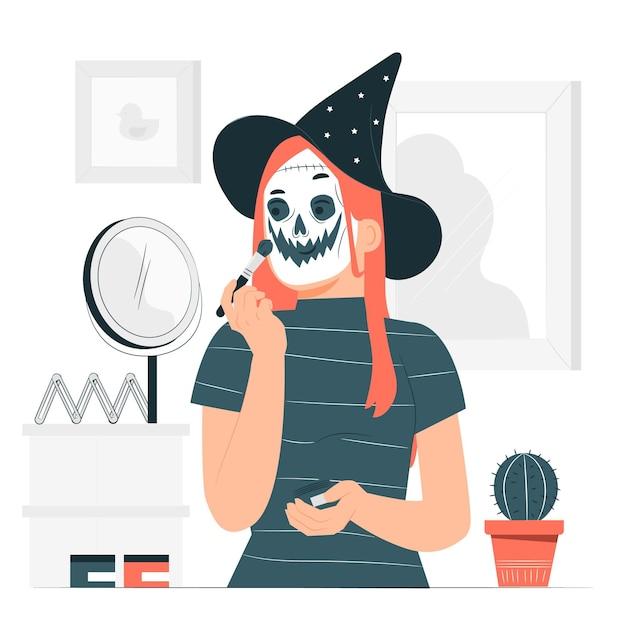 Spooky selbst make-up konzept illustration Kostenlosen Vektoren
