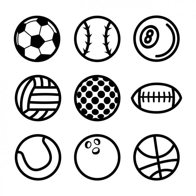 Sport bälle sammlung Kostenlosen Vektoren
