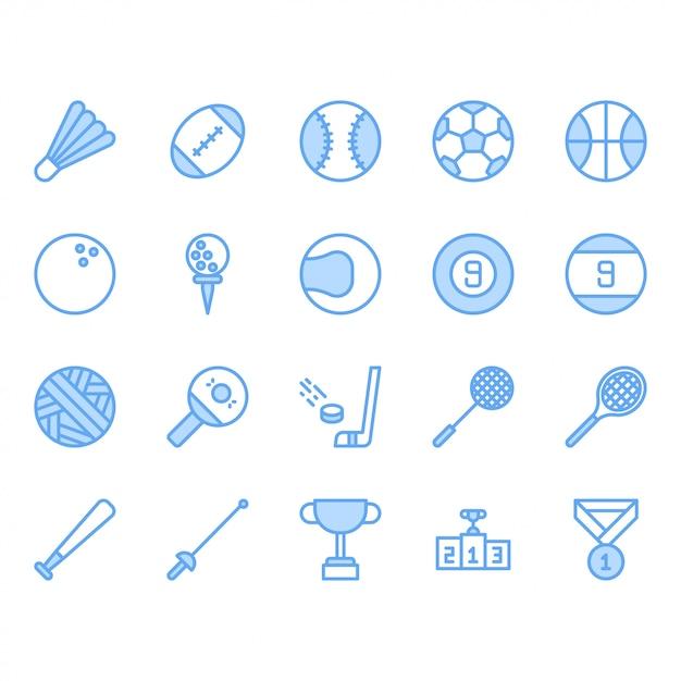 Sport ball ausrüstung icon set Premium Vektoren