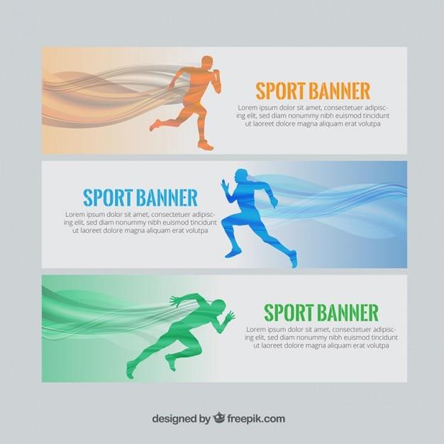 Sport-banner mit läufern und wellen Kostenlosen Vektoren