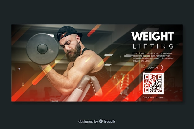 Sport banner vorlage mit foto Premium Vektoren