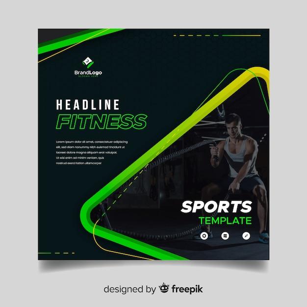 Sport banner vorlage mit foto Kostenlosen Vektoren