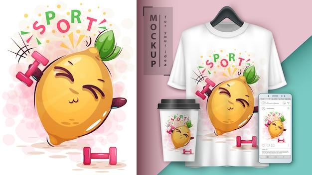 Sport barbell zitrone illustration und merchandising Premium Vektoren