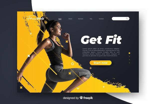 Sport bekommen fit landingpage mit foto Kostenlosen Vektoren