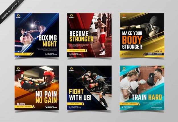 Sport boxing instagram post sammlung vorlage Premium Vektoren