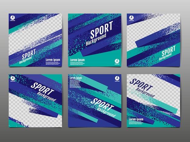 Sport-fahnen-social media, abstrakte dynamik, schmutzbeschaffenheit. Premium Vektoren