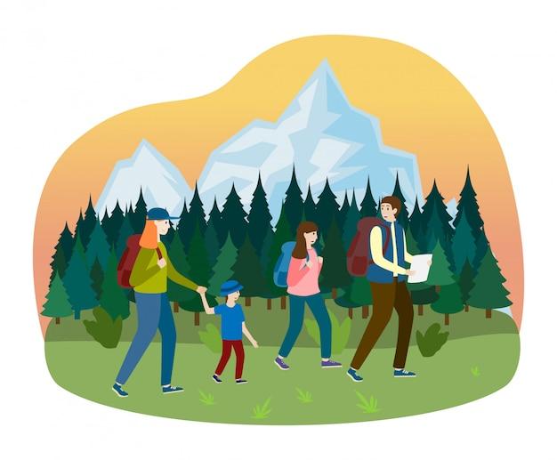 Sport familienspaziergang wandern camping im freien baum waldplatz, charakter vater mutter junge und tochter auf weiß, illustration. Premium Vektoren