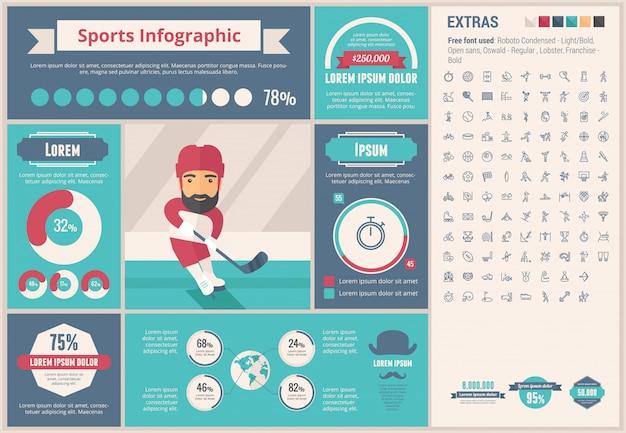 Sport flaches design infographik vorlage Premium Vektoren