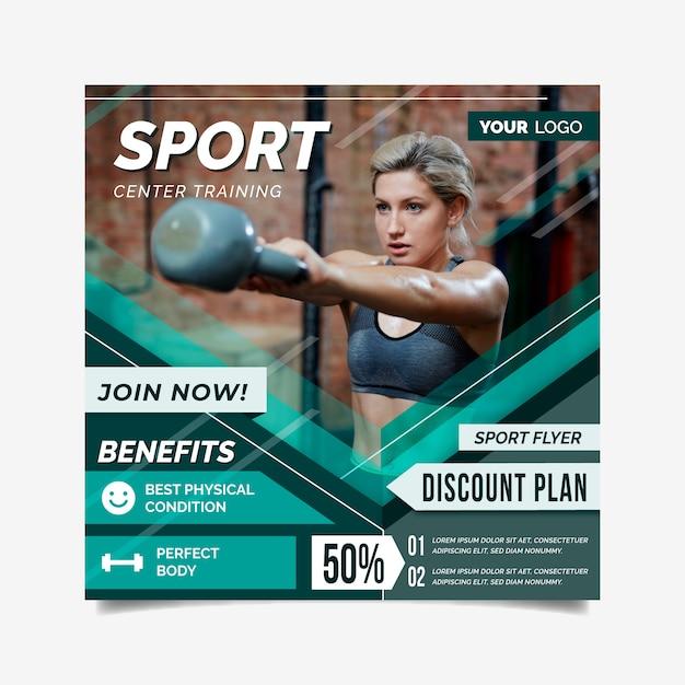 Sport flyer vorlage mit foto Kostenlosen Vektoren