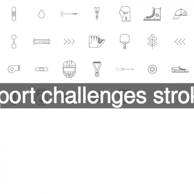 Sport fordert schlaganfall symbole Kostenlosen Vektoren