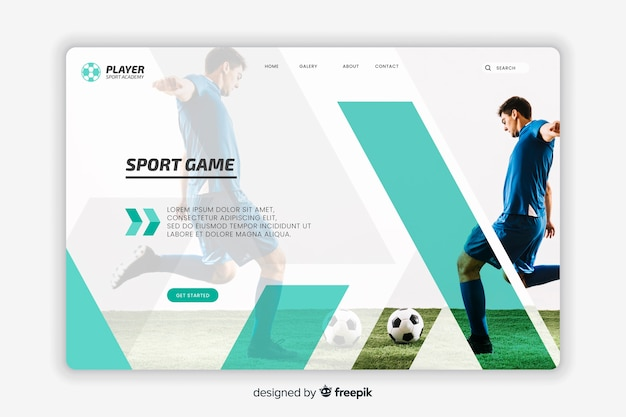 Sport fußball landing page Kostenlosen Vektoren