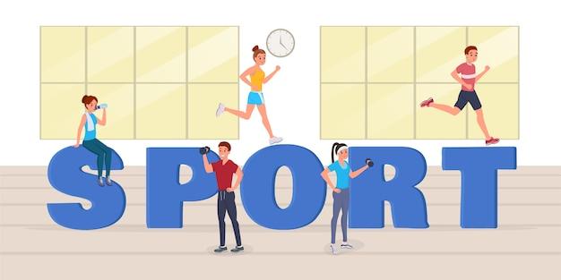 Sport große buchstaben Premium Vektoren