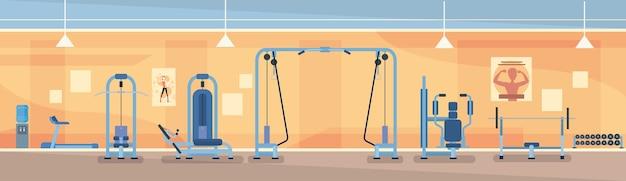 Sport gym interior training ausrüstung Premium Vektoren