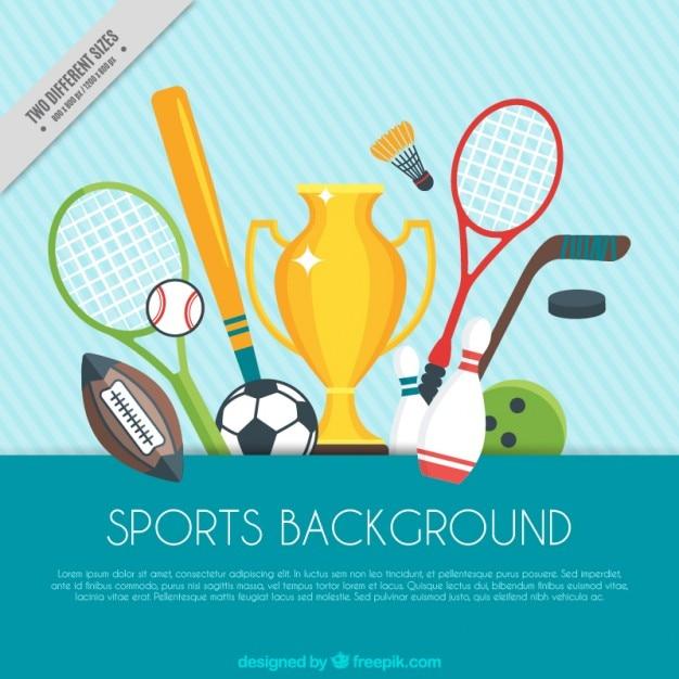 Sport hintergrund mit trophäe und sport elemente Kostenlosen Vektoren