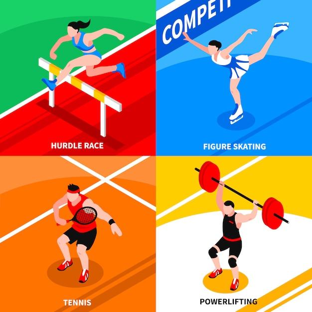 Sport isometrisches konzept Kostenlosen Vektoren