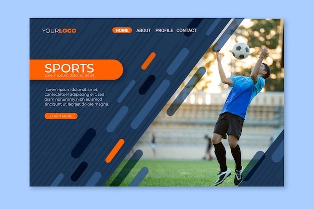 Sport landing page mit bildvorlage Kostenlosen Vektoren