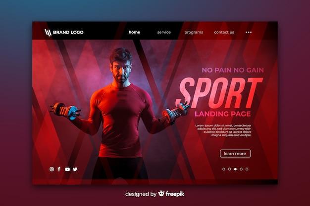 Sport landing page mit foto Kostenlosen Vektoren