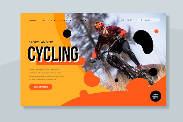 Sport landing page mit fotovorlage Kostenlosen Vektoren