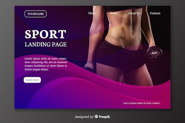 Sport landing page mit frauenbauch Kostenlosen Vektoren