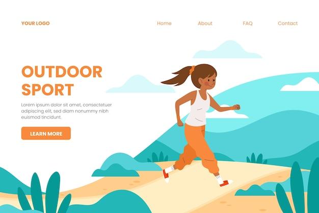 Sport-landingpage-vorlage im freien Kostenlosen Vektoren