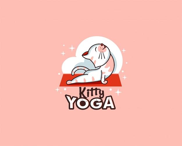 Sport logo und emblem. kitty yoga abzeichen, aufkleber, etikett Premium Vektoren