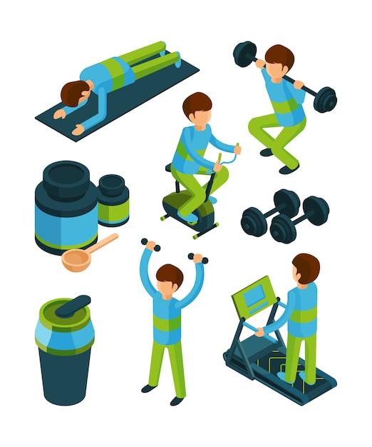 Sport menschen isometrisch. übungen und eignungsausrüstung für die sammlung der gesundheitsturnhallenwerkzeuge 3d lokalisiert Premium Vektoren