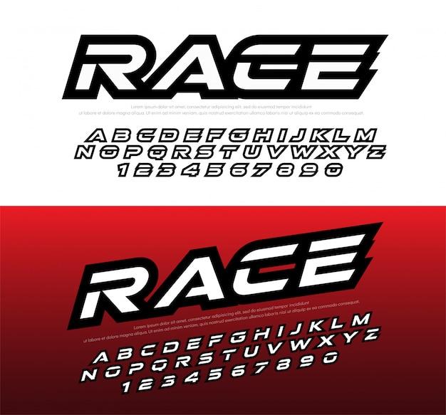 Sport moderne alphabet und zahl schriftarten. renn typografie Premium Vektoren