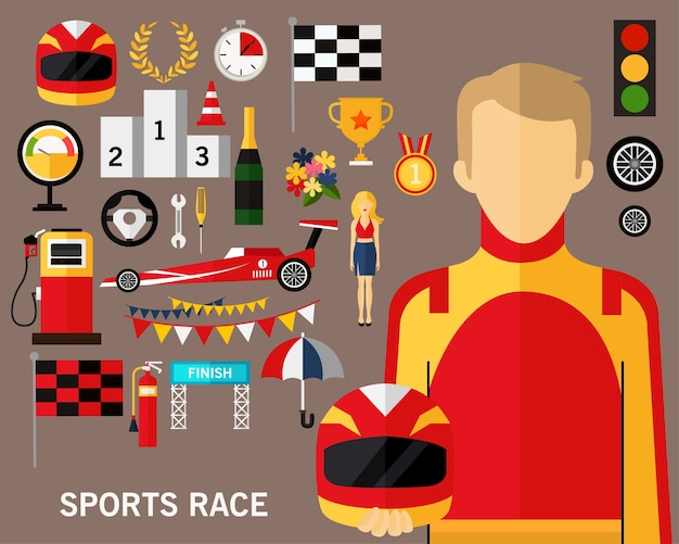 Sport rennen konzept hintergrund Premium Vektoren