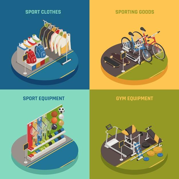 Sport-shop isometrisch mit kleidung gaming inventar fahrräder und skateboards fitnessgeräte Kostenlosen Vektoren